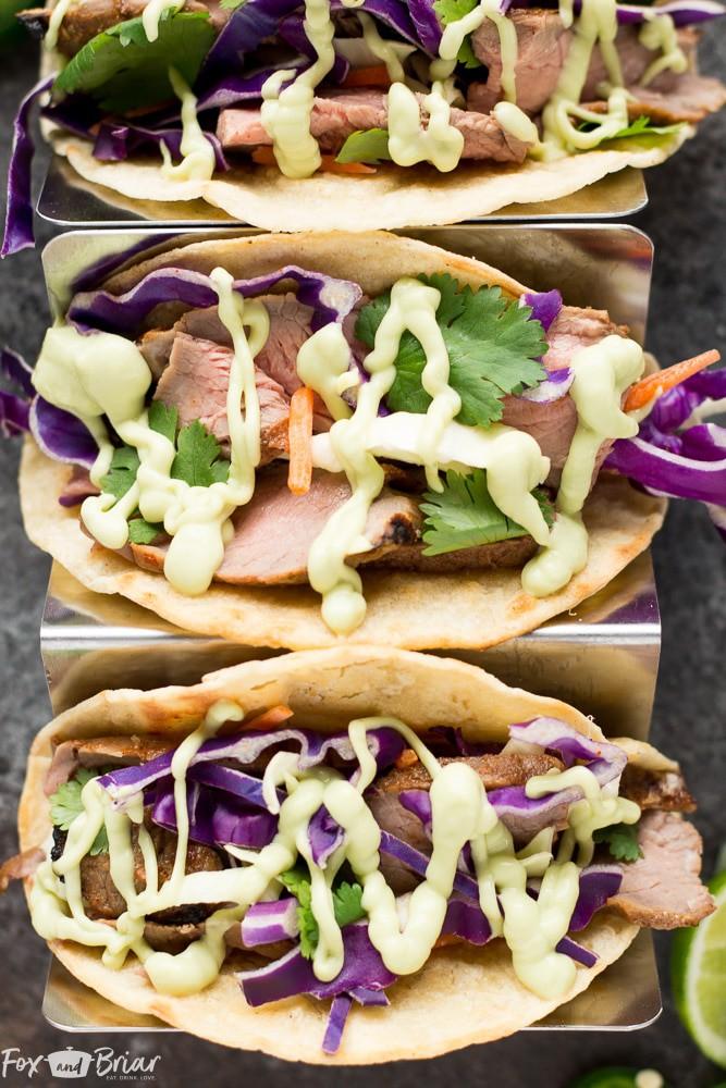 Honey lime steak tacos wih avocado crema