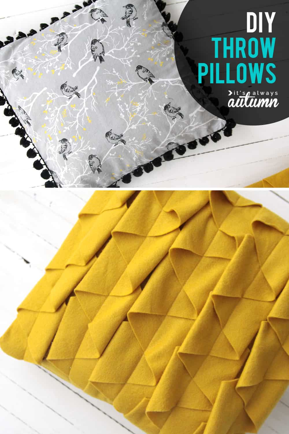 IY throw pillows and ruffles