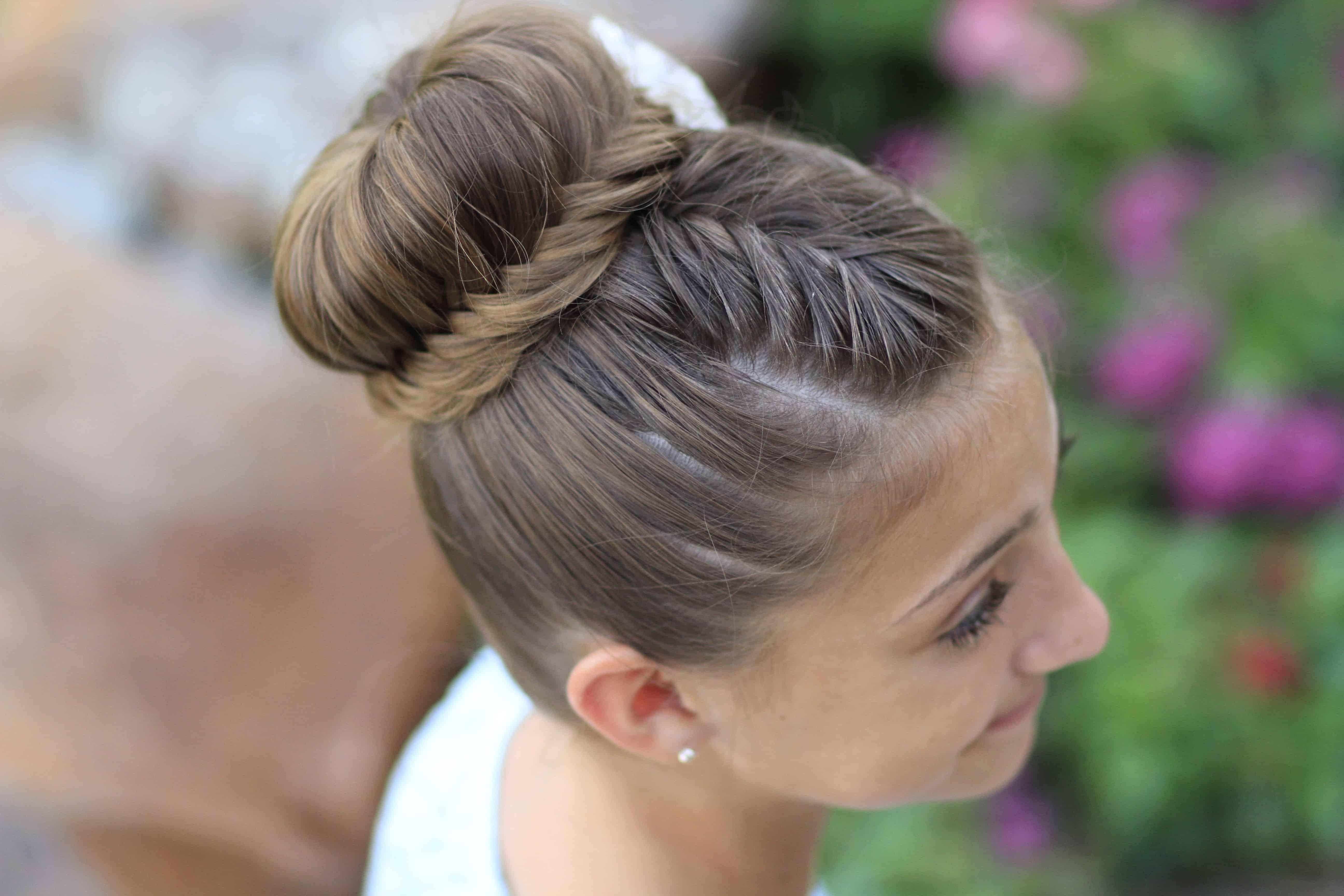 Lace fishtail bun