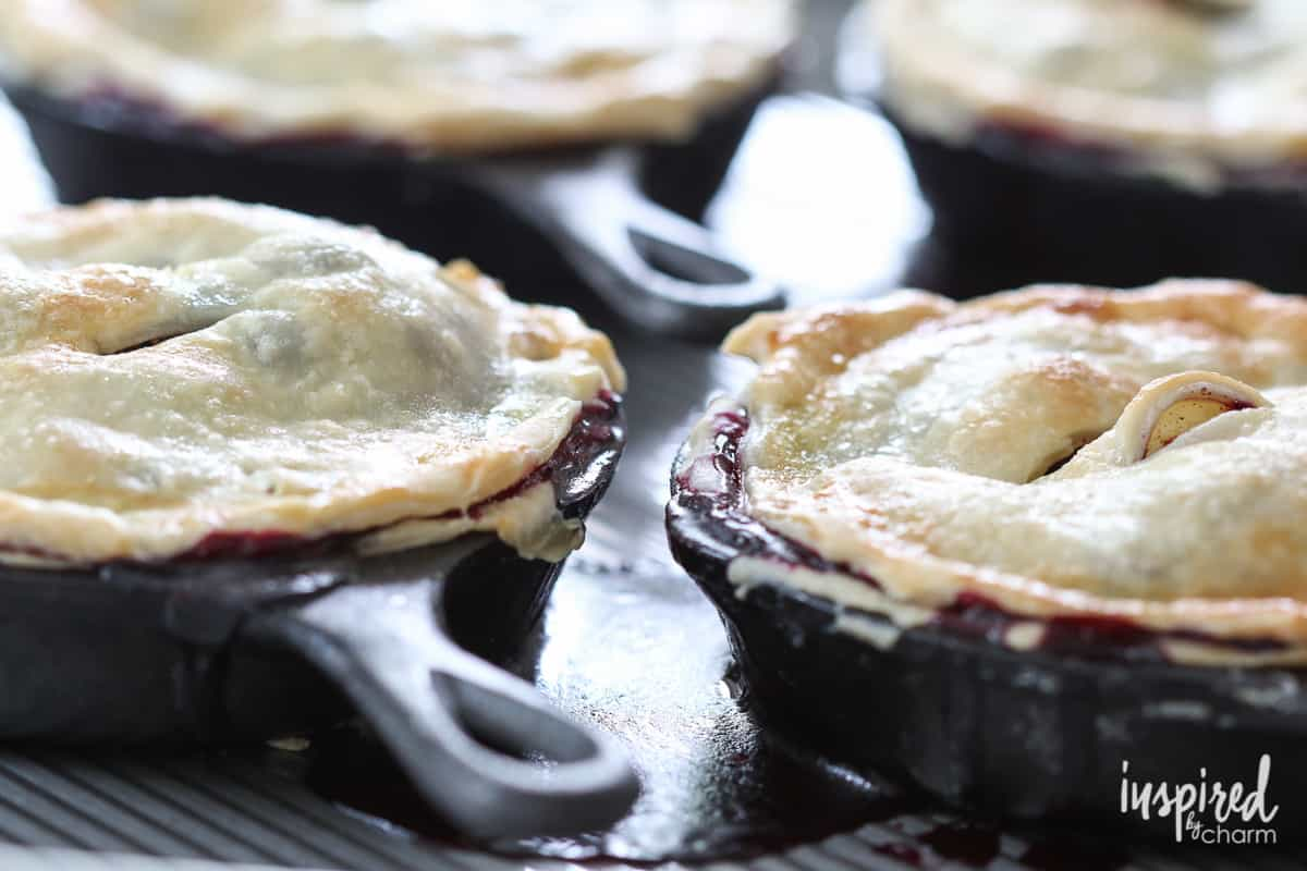 Mini skillet blueberry pies