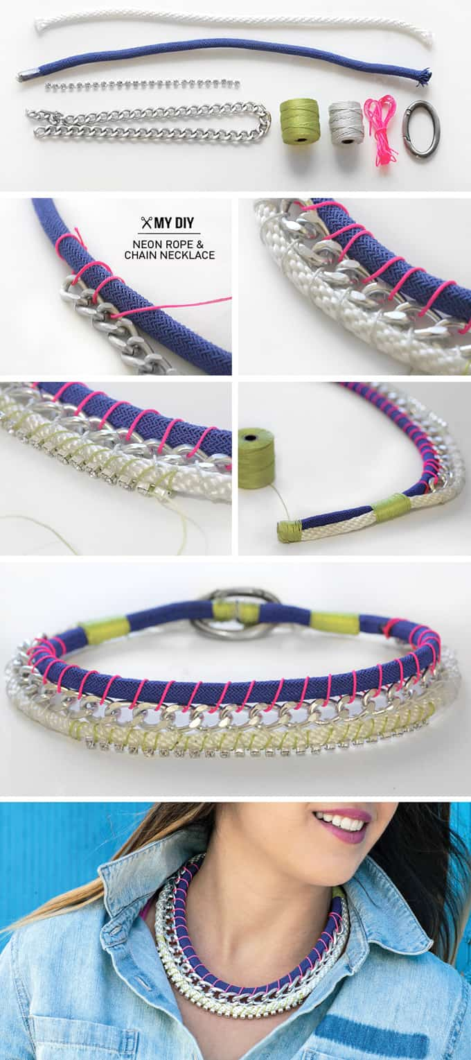 Neon rope and chain necklace
