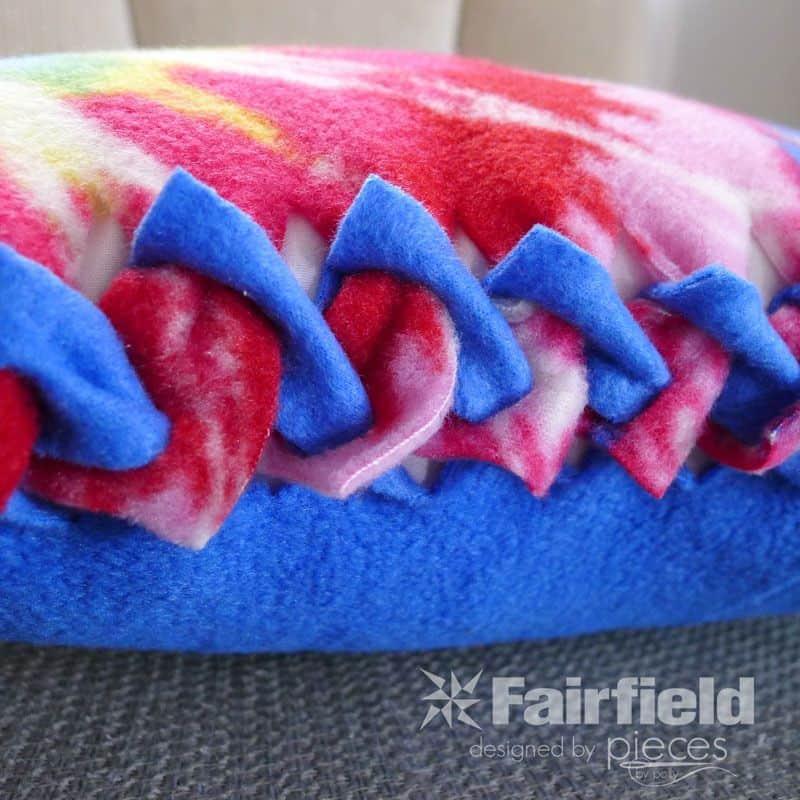 No-sew braided edge fleece pillow