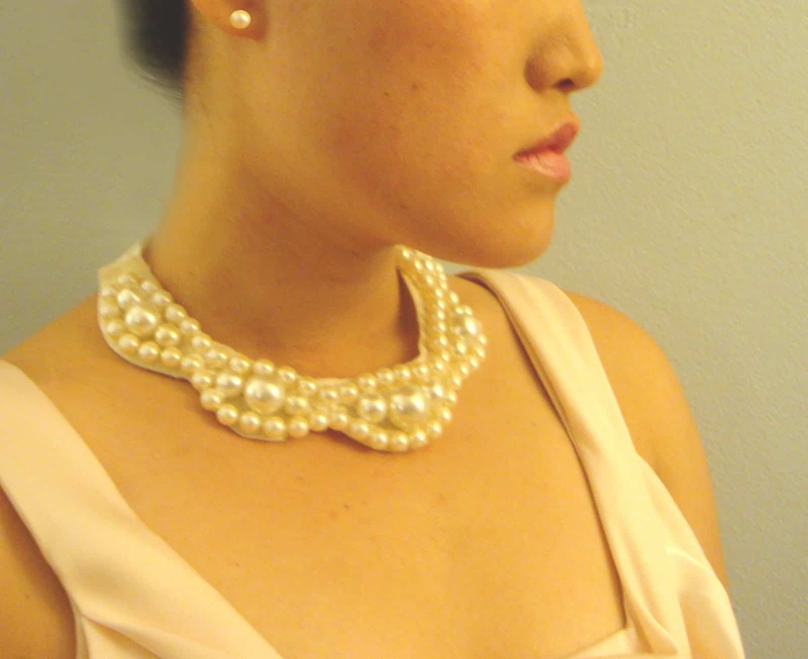 Pearl, lace, and ribbon bib necklace
