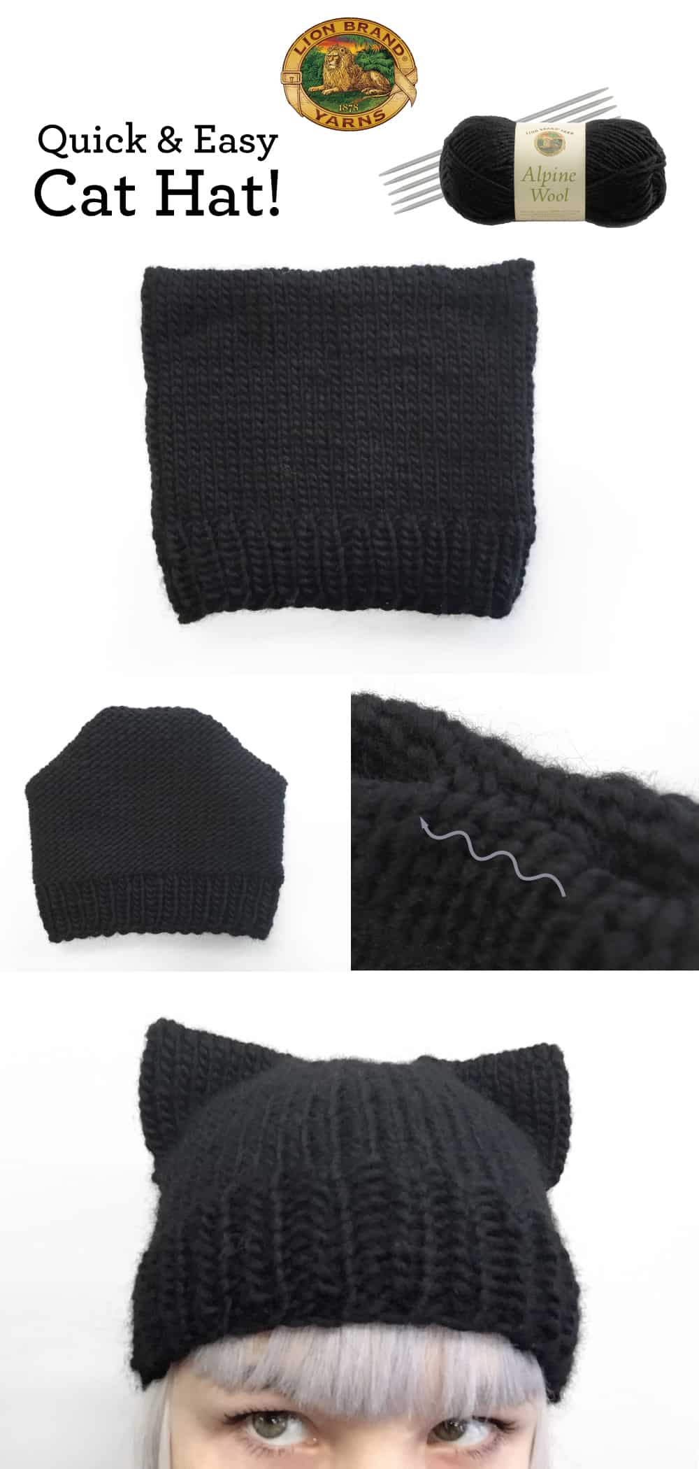Quick and easy knitted cat hat