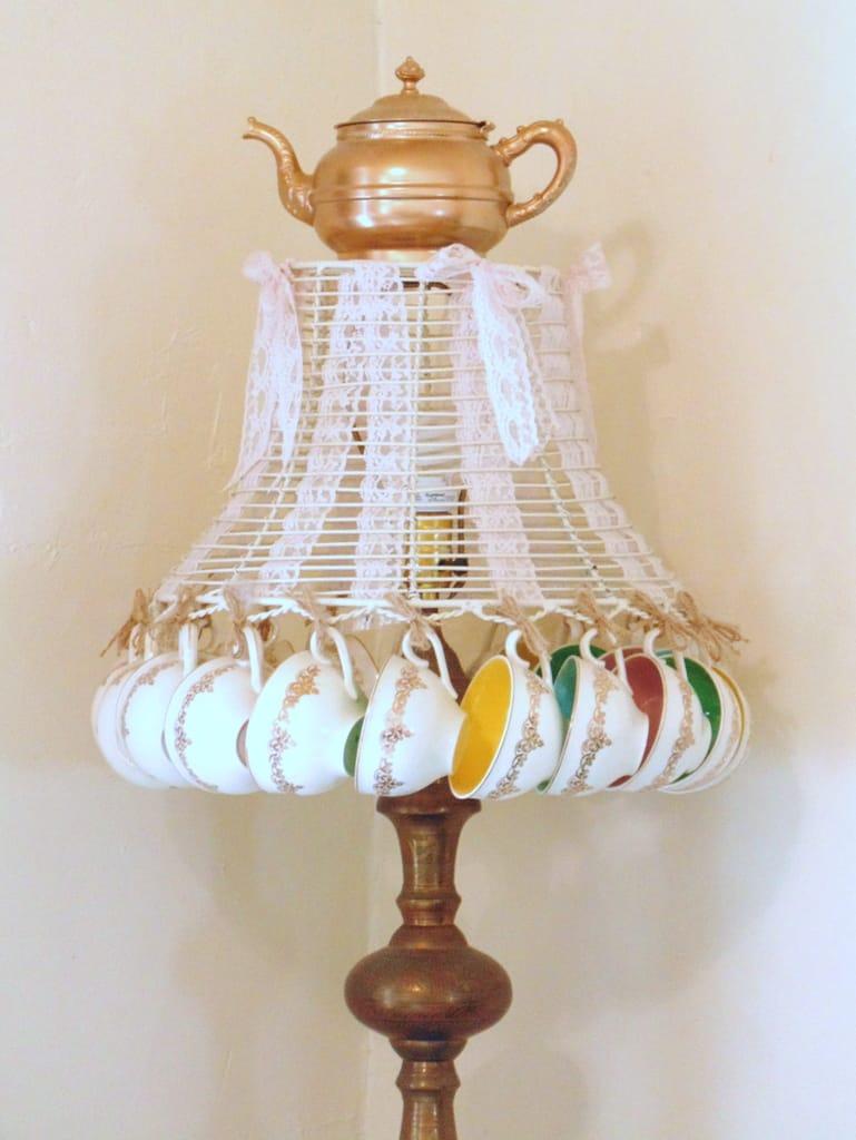 Repurposed vintage teacup lamp shade