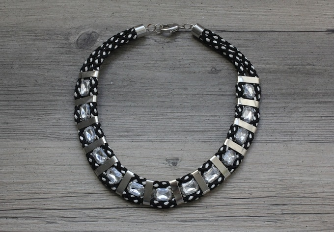 Rope and chunky gem necklace