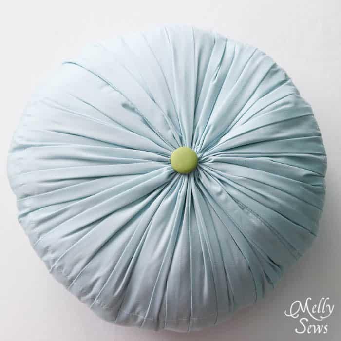 Round pleated throw pillow
