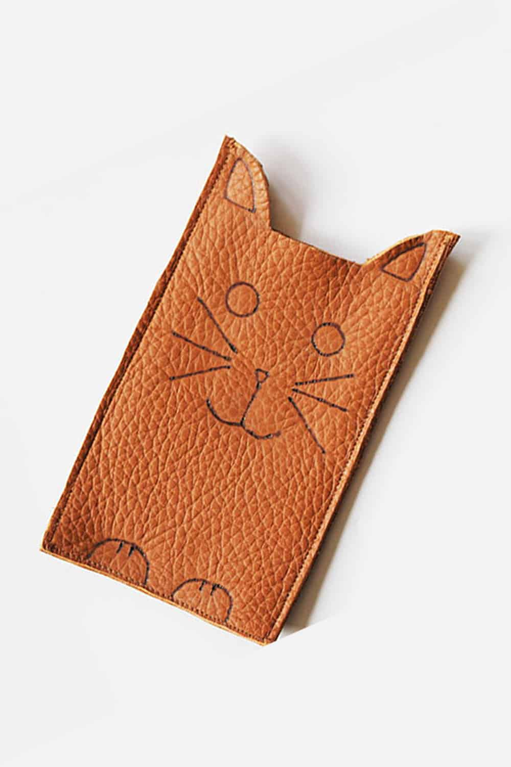 Stitched leather cat phone sleeve