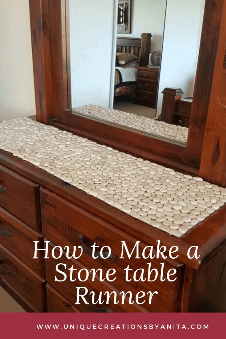 Stone pebble table runner