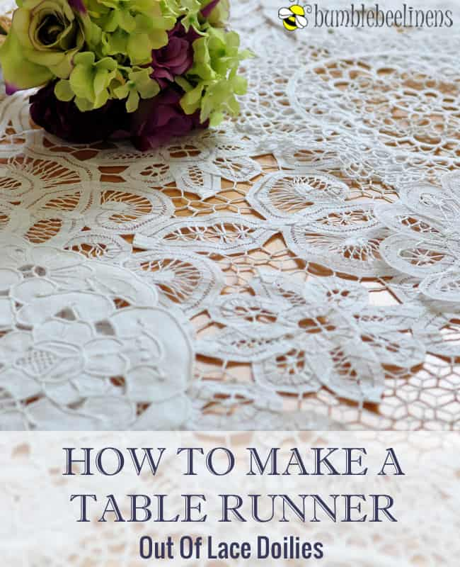 Table runner from lace doilies of any shape together