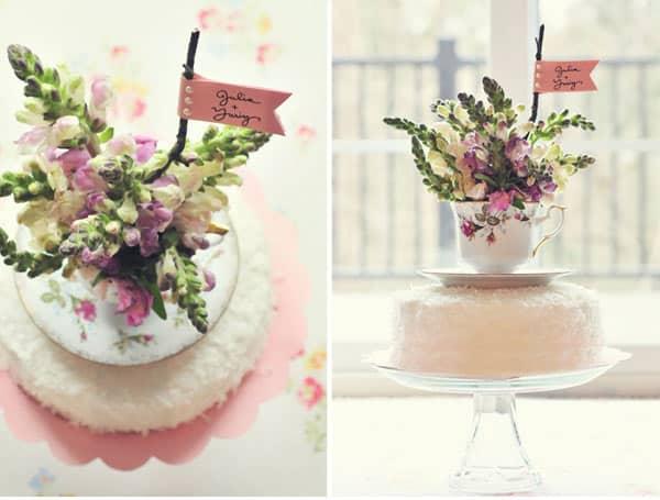 Teacup garden cake topper
