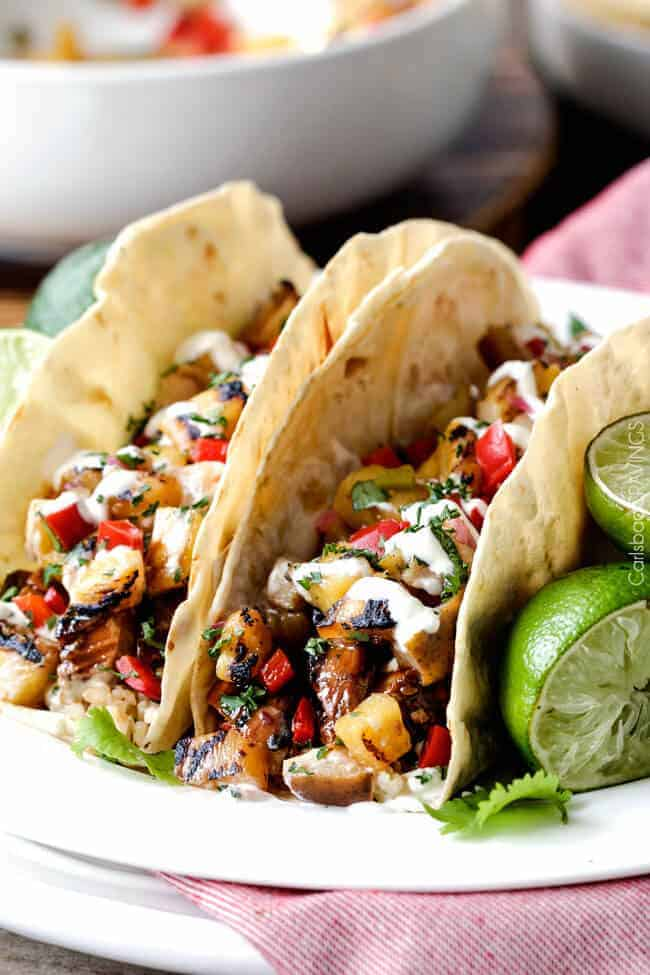 Teriyaki chicken tacos with pineapple pear salsa