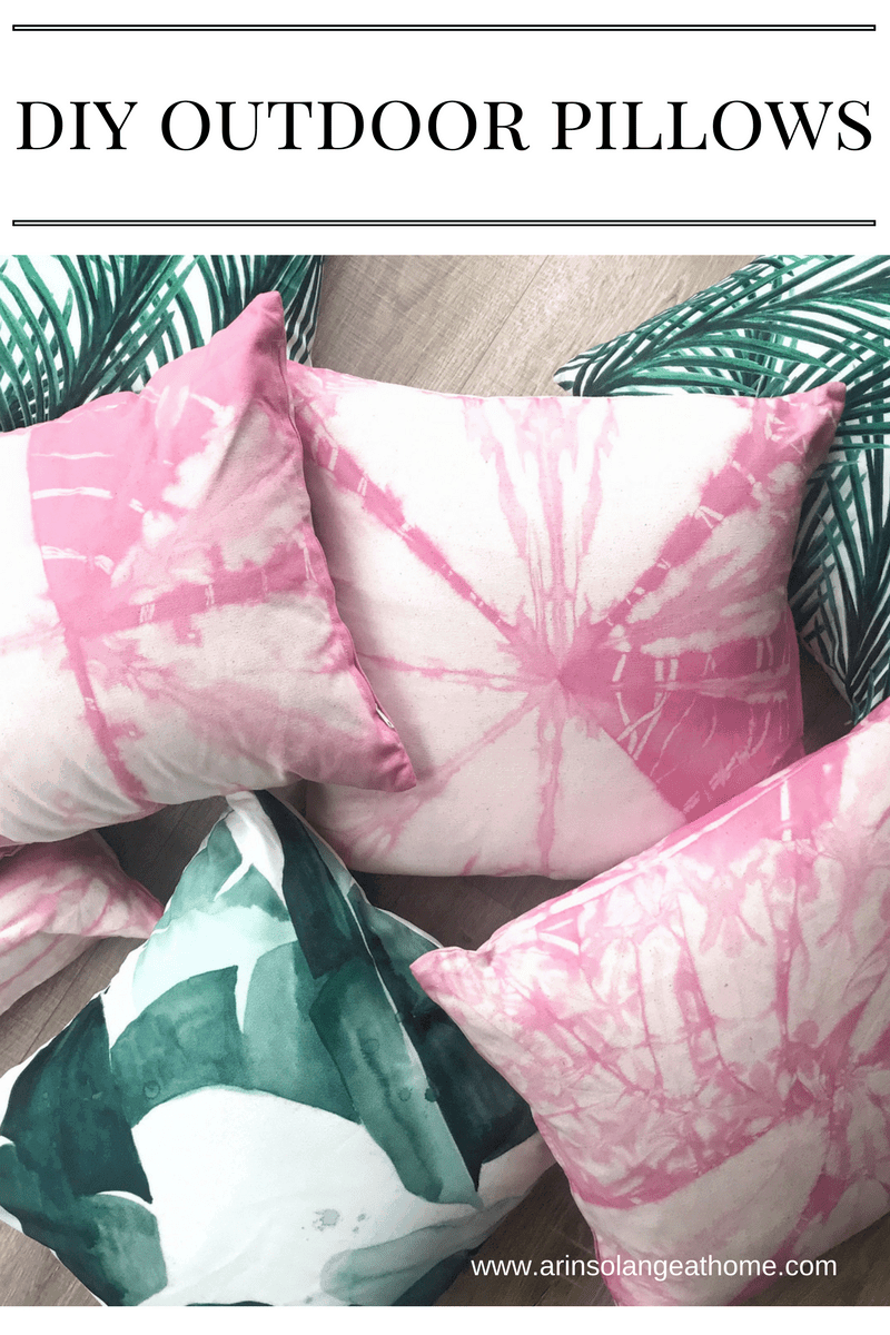 Tie dyed DIY outdoor pillows
