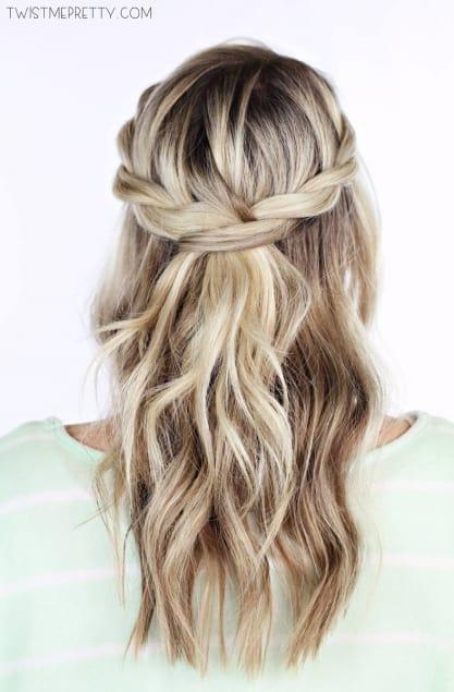 Twisted crown braid 15 Creative Hair Braiding Tutorials and Styles
