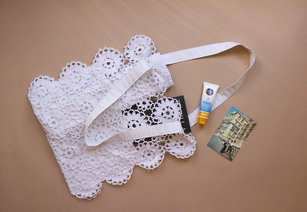 Upcycled crochet doily tote bag