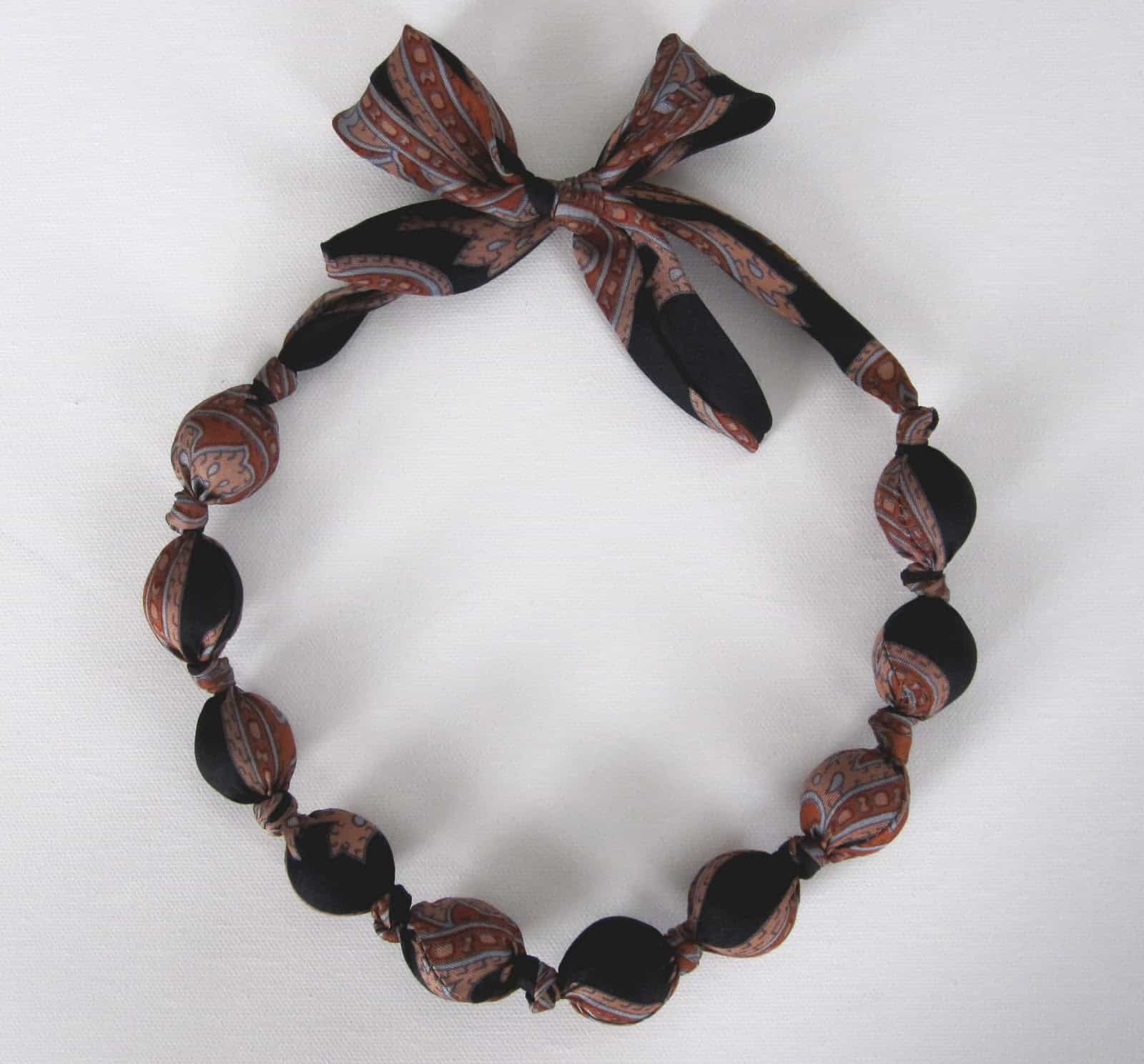 Upcycled tie and chunky bead necklace