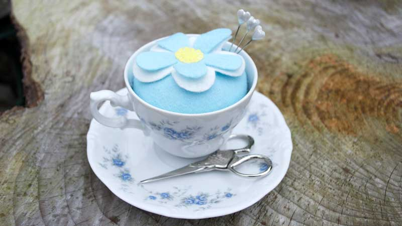 Vintage teacup pin cushion