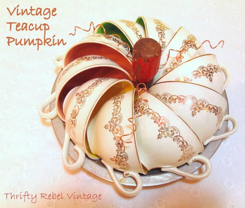 Vintage teacup pumpkin
