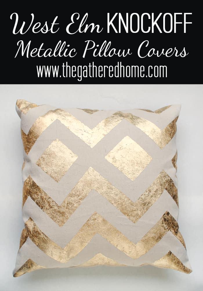 West Elm knock off metallic chevron pillow