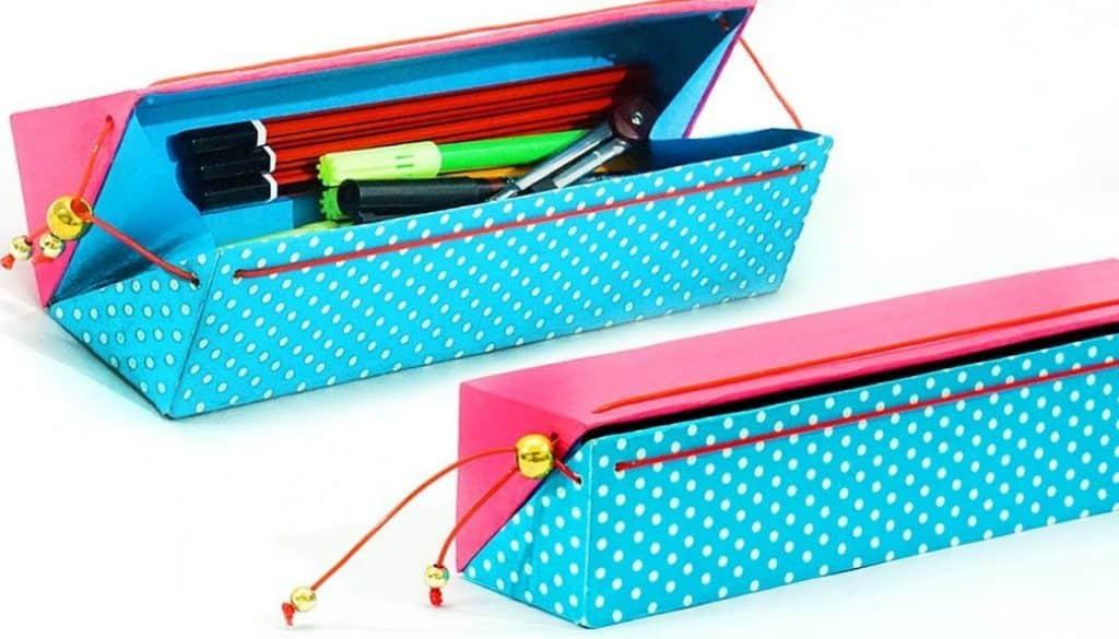 Angled box pencil case