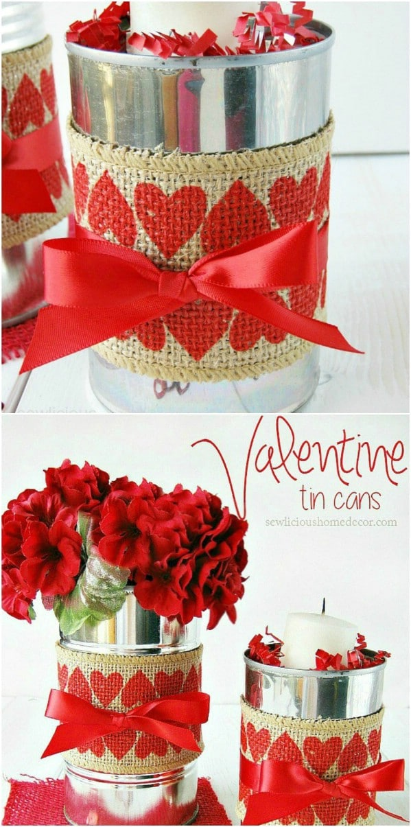 Burlap covered decor cans