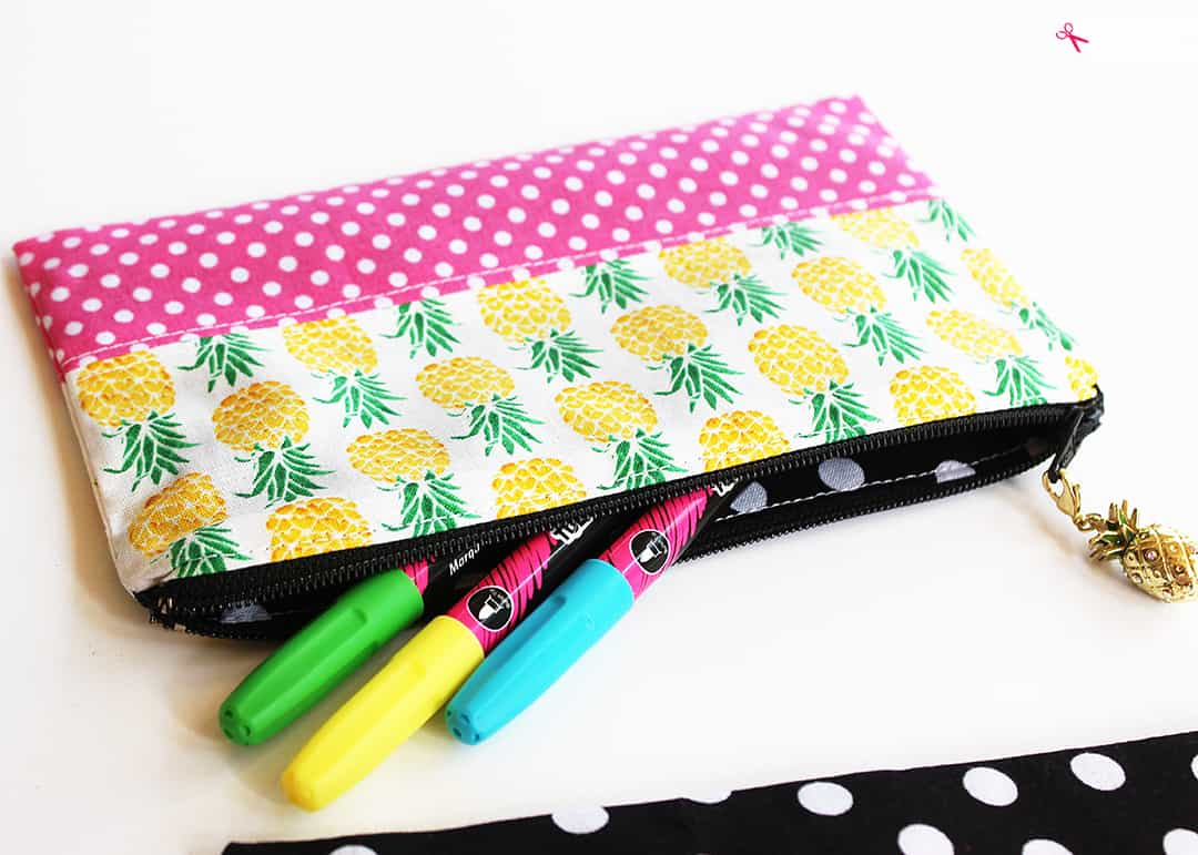 Contrasting patterned pencil pouch