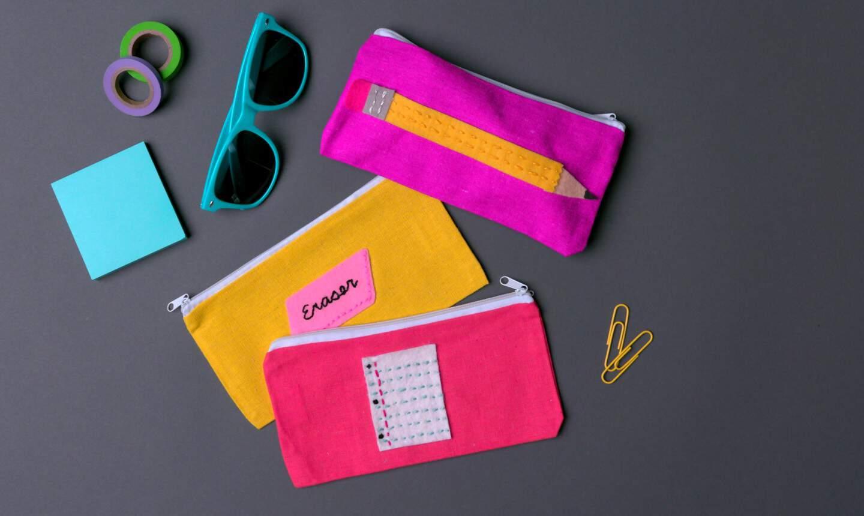 Custom fabric applique pencil cases