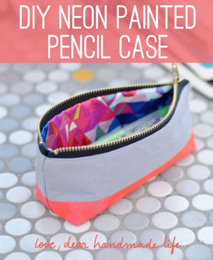 DIY neon painted pencil case