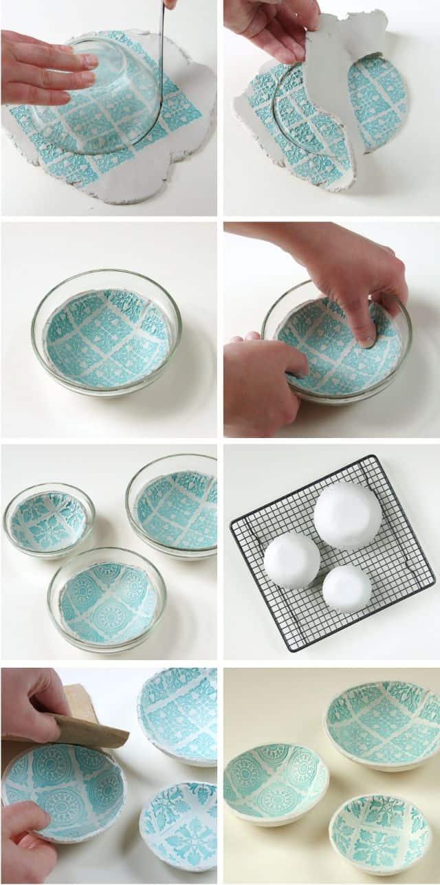DIY stamped pattern clay bowls