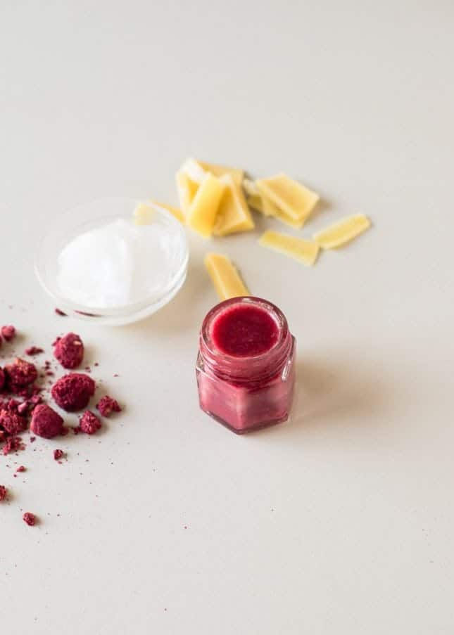DIY tinted raspberry lip balm