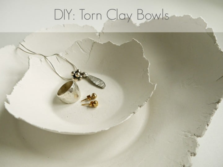 DIY torn clay bowls