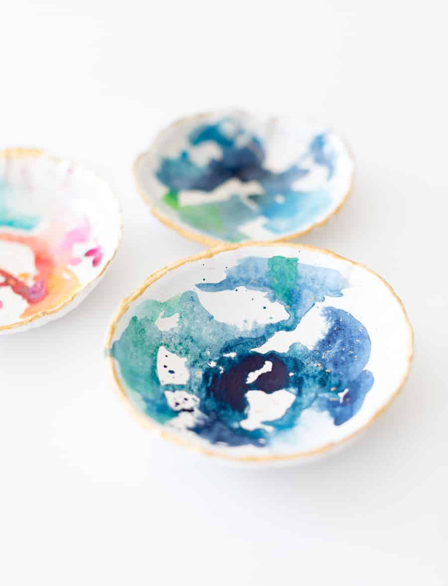 DIY watercolour clay bowl