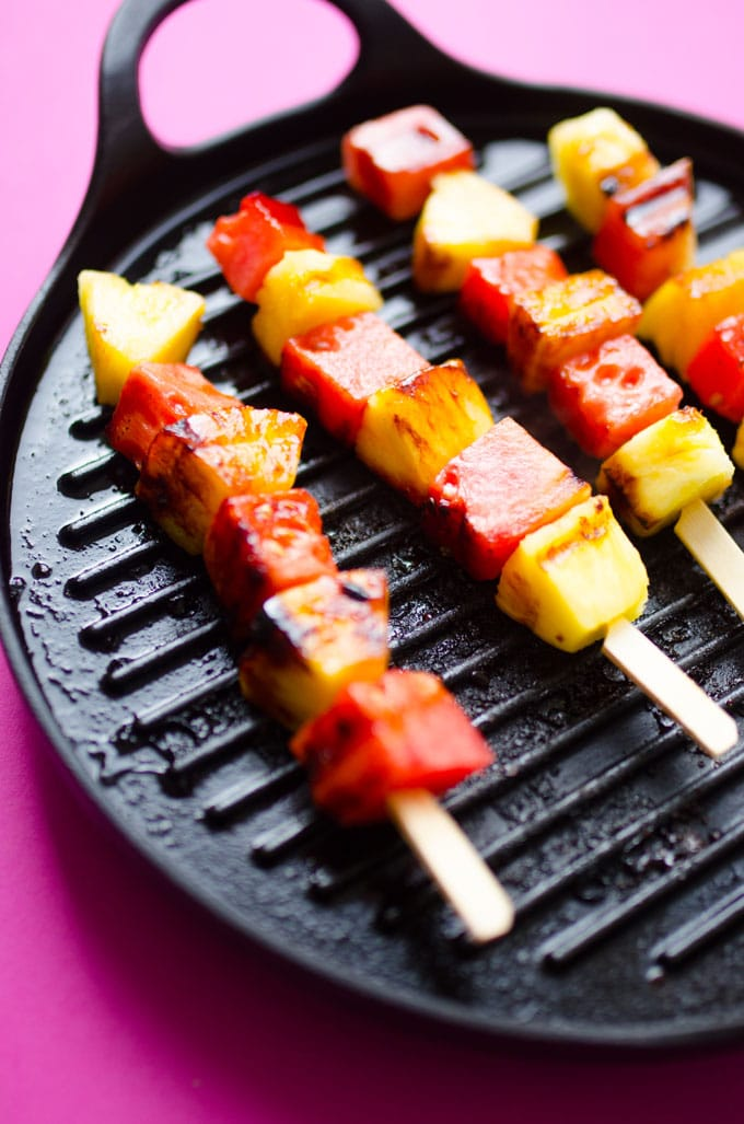 Grilled watermelon and pineapple skewers with creamy yogurt dip