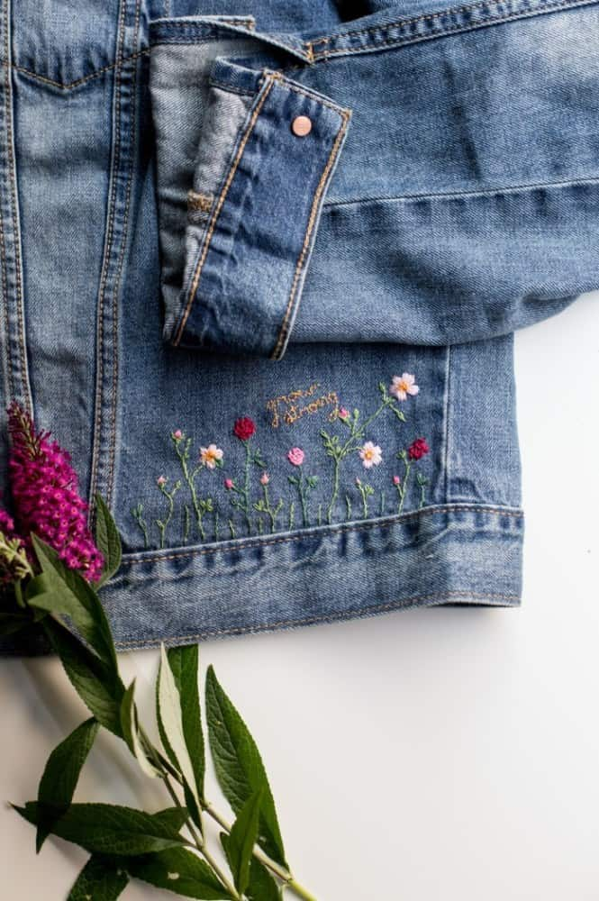 Hand embroidered jacket edge 15 Best DIY Denim Jacket Projects to Try