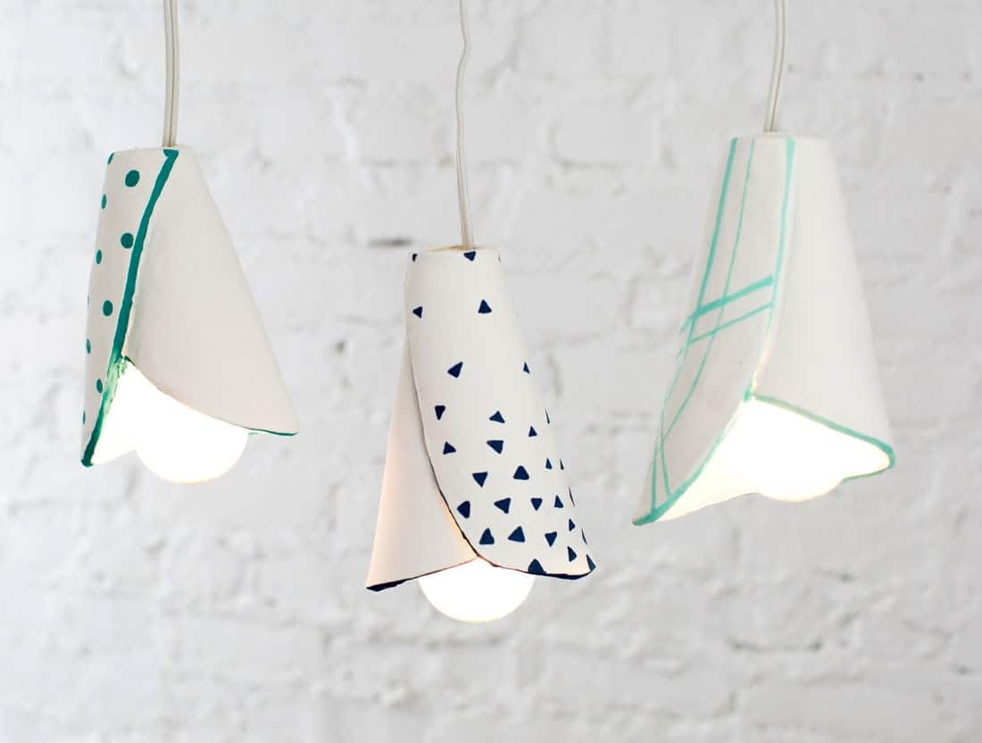 Hand painted clay pendant lamp