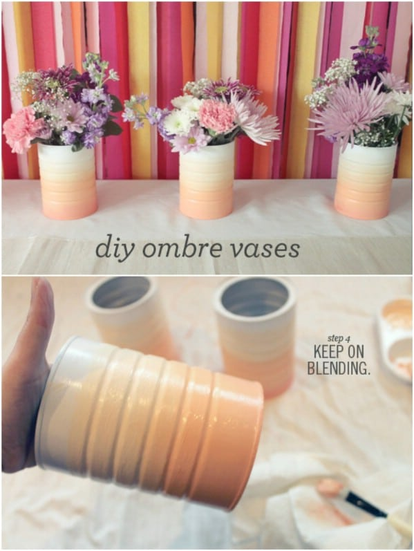 Ombre painted flower vases