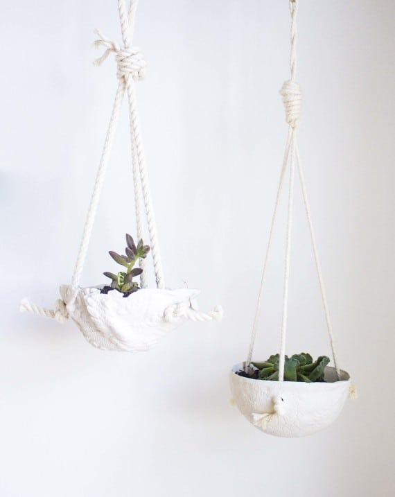 Oven baked clay hanging planters