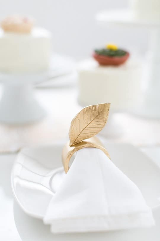 Painted clay leaf napkin rings