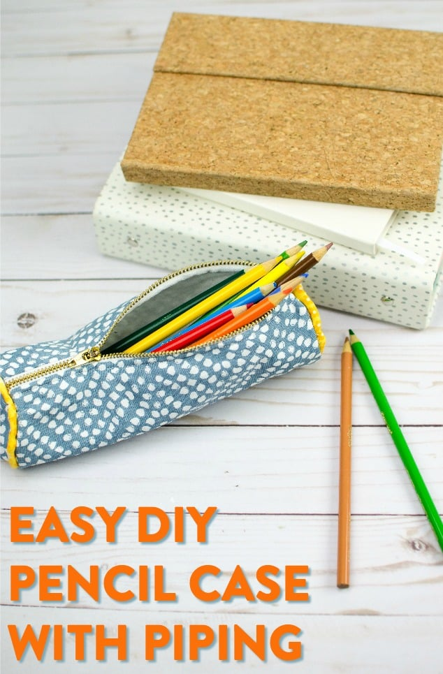 Patterned pencil case with piping