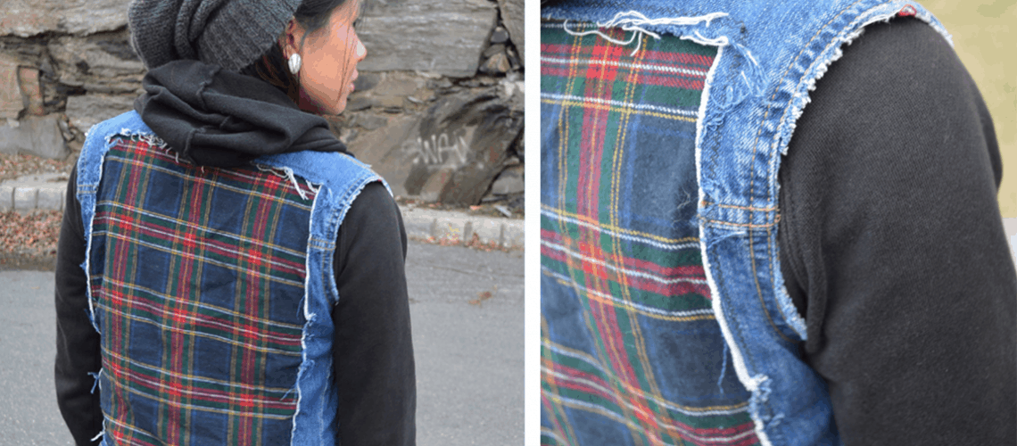 Plaid cut out denim vest