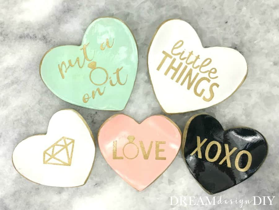 Quote painted heart shaped clay dishes