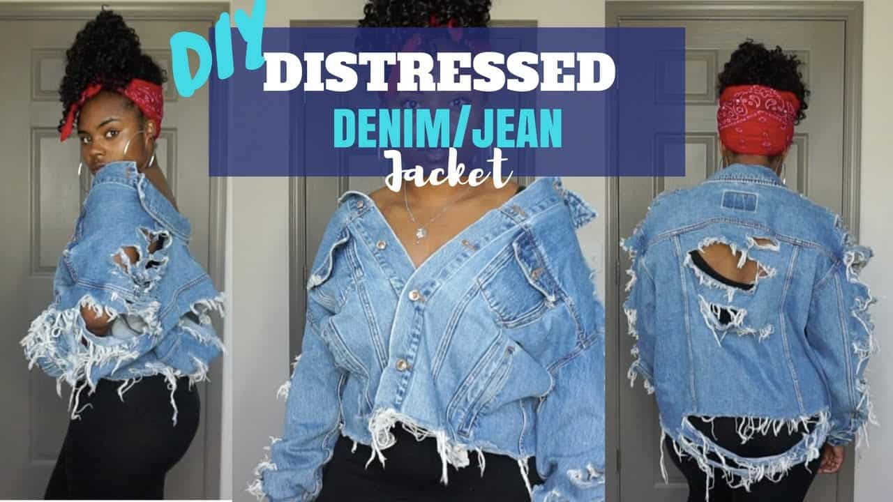 Sliced and distressed denim jacket