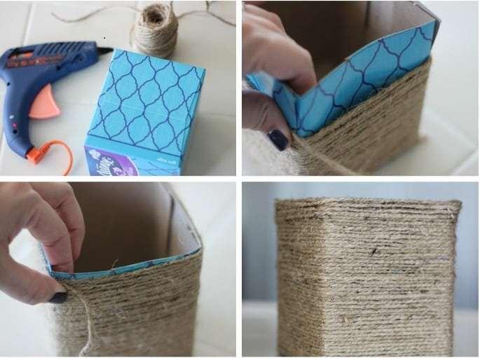 String wrapped storage box