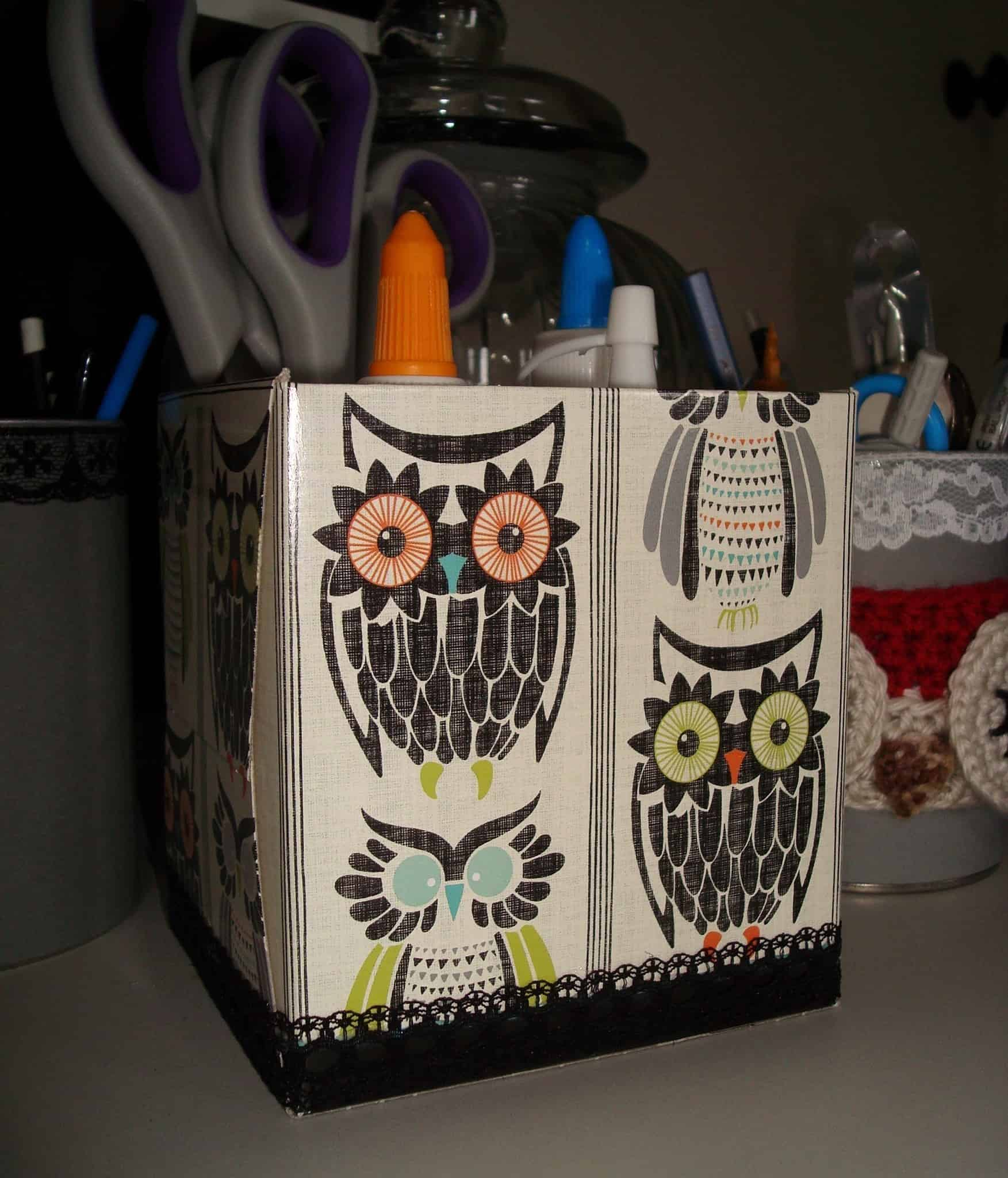 Tissue box craft storage