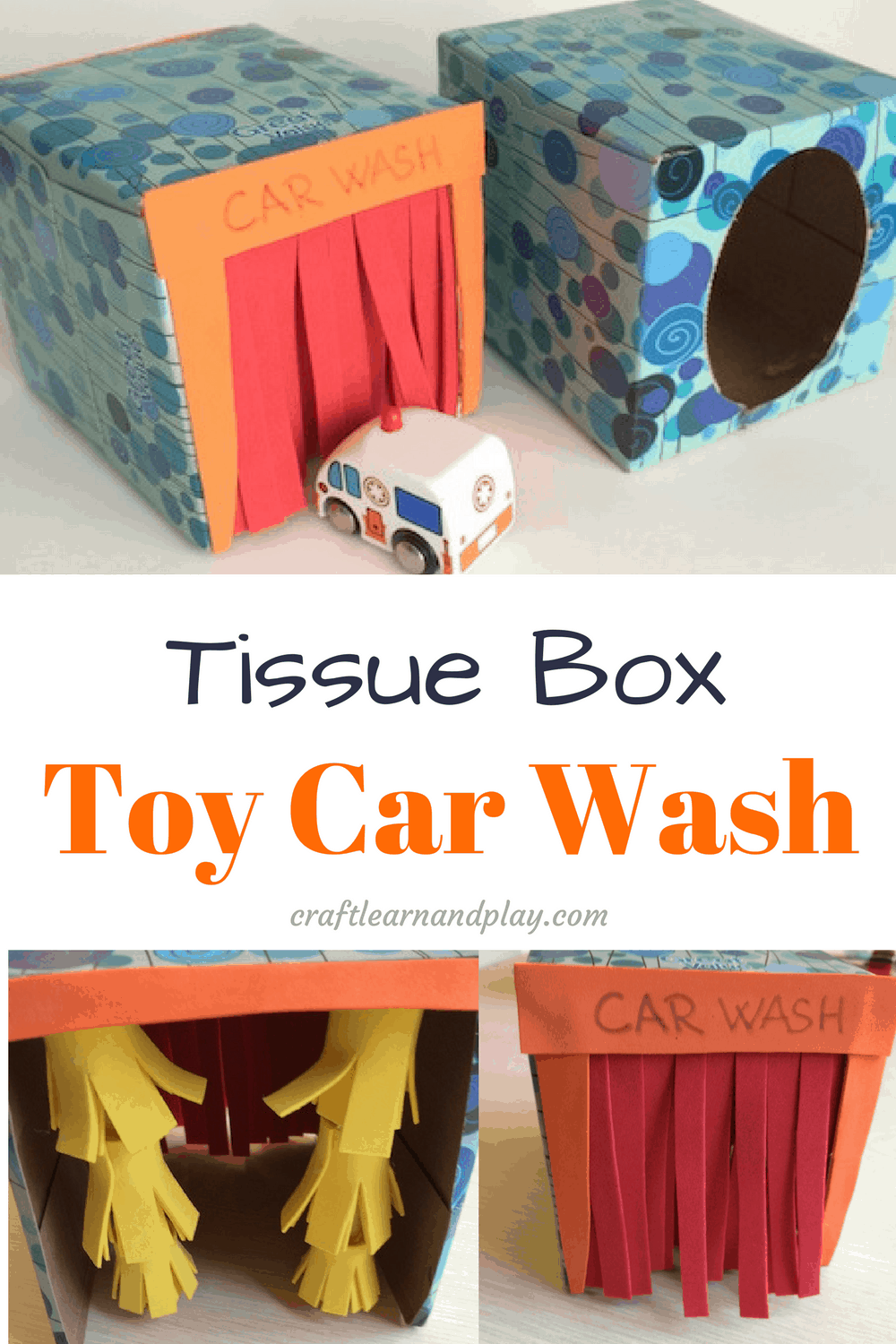 Tissue box toy car wash