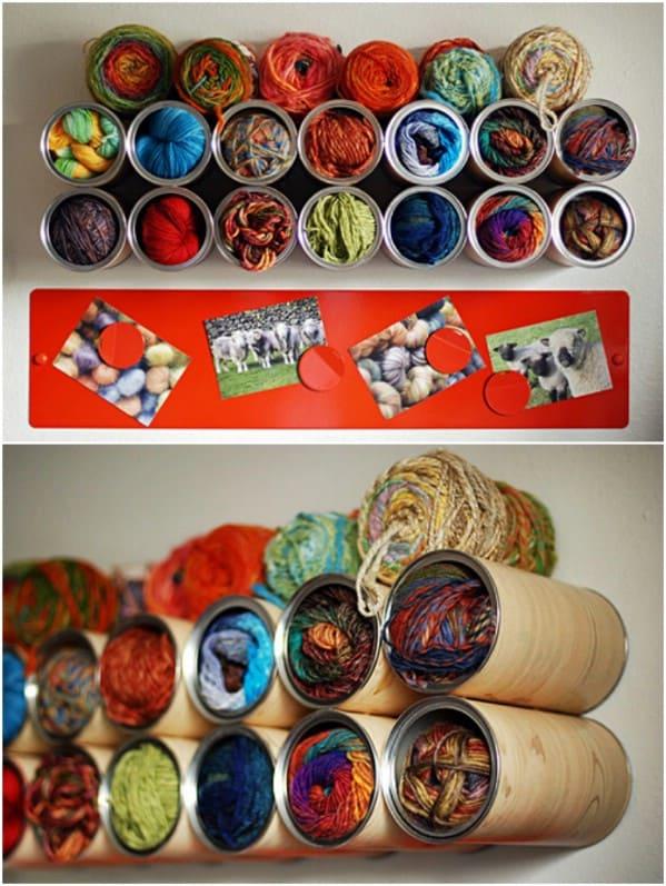 Wall mounted yarn cubbies