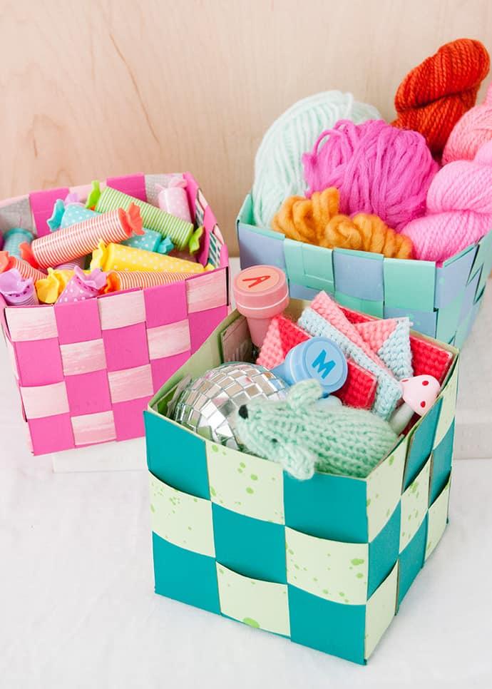 Woven tissue box baskets