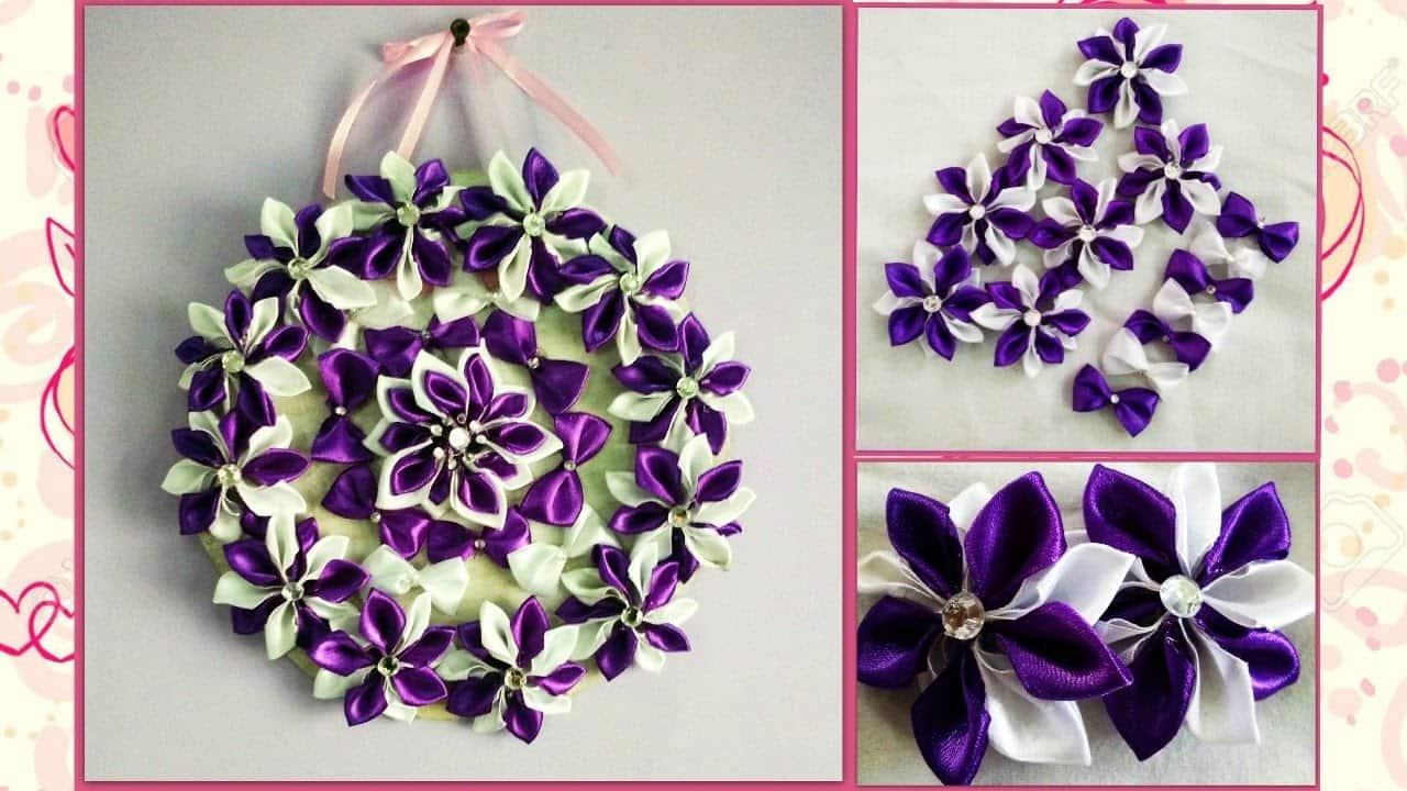 Advanced satin ribbon floral wall hanging