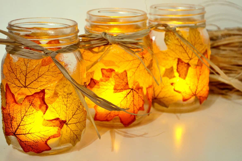 Autumn leaf mason jar candle holders