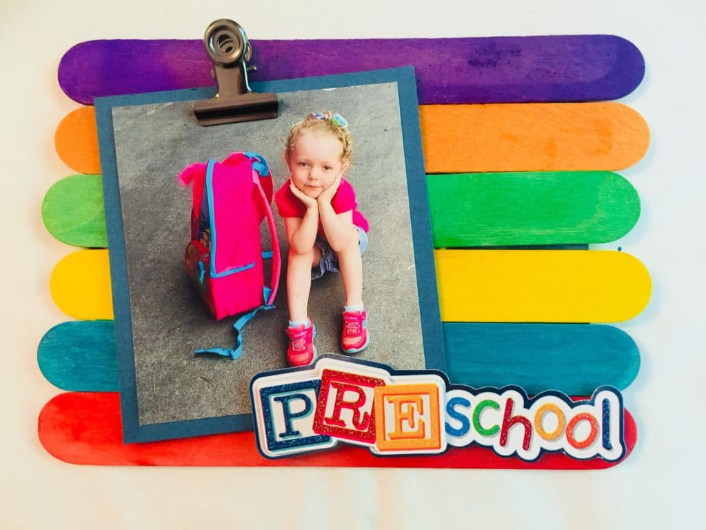 Back to school popsicle stick frame
